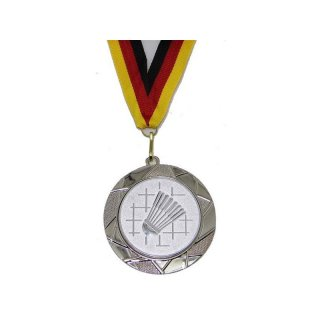Medaille D=70mm, Badminton inkl. 22mm Band, Silberfarbig