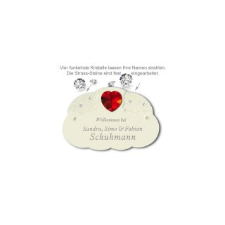 Namensschild My Star Herz Kristall rot D=3,5cm 165X110mm